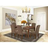 East West Furniture 7-Pieces Dining Room Table Set - Dark Coffee Linen Fabric Dining Chairs - Mahogany Finish 4 legs Solid Wood Rectangular Mid-century Dining Table and Structure