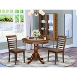 East West Furniture 3Pc Round 36 Inch Kitchen Table And A Pair Of Microfiber Upholstery Seat Dining Chairs, 3, Mahogany