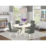 """East West Furniture 5Pc Oval 42/60"""" Table With 18 In Self Storing Butterfly Leaf And 4 Parson Chair White Finish Leg And Linen Fabric-Gray Color, 5"""