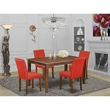 East West Furniture 5Pc Rectangle 60 Inch Dining Table And Four Parson Chair With Mahogany Leg And Pu Leather Color Firebrick Red, 5