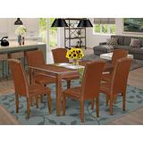 East West Furniture 7-Pieces Wooden Dining Table Set - Brown PU Leather Kitchen Parson Chairs - Mahogany Finish 4 legs Solid Wood Rectangular Wood Table and Frame