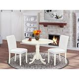 """East West Furniture 3Pc Round 42"""" Dining Room Table With Two 9-Inch Drop Leaves And 2 Parson Chair With Linen Leg And Pu Leather Color White, 3"""