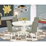 """East West Furniture 5Pc Oval 42/60"""" Table With 18 In Self Storing Butterfly Leaf And 4 Parson Chair White Leg And Linen Fabric Dark Shitake, 5"""