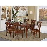 East West Furniture Wood Dining Table Set 7 Pc - Wooden Dining Table Chairs Seat - Mahogany Finish Wood Dining Table and Structure