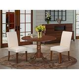 East West Furniture Kitchen Set 3 Pieces - Cream Linen Fabric Parsons Dining Room Chairs - Mahogany Finish Solid wood drop leaves Pedestal Dining Table and Frame