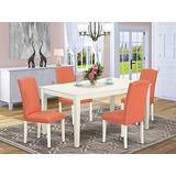East West Furniture Wood Dinette Set 5 Pieces - Pink Flamingo PU Leather Upholstered Dining Chairs - Linen White Finish 4 legs Hardwood Rectangular Kitchen Table and Structure