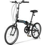 "Costway 20"" 7-Speed Lightweight Iron V-Brakes Folding Bike"