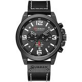 Mens Leather Strap Watches Chronograph Wacth Classic 3D Dial Casual Dress Stainless Steel Waterproof Date Analog Quartz Military Black Wrist Watches (Black)