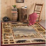Lakeside Retreat Red Machine Washable 5x7 Area Rug Cabin for Living for Living Room - Bedroom and DiningRoom - Lodge, Cabin Farmhouse Stye Carpet