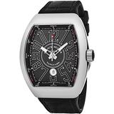 Franck Muller Vanguard Automatic Watch - Tonneau Analog Black Face Automatic Mens Watch with Luminous Hands, Date and Sapphire Crystal - Black Band Swiss Made Luxury Watch for Men V 45 SC DT AC NR