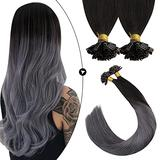 Ugeat Remy Hair Extensions U Tip 16 Inch U Tip Fusion Hair Extensions Human Hair 50strands Pre Bonded U Tip Hair Extensions Off Black Ombre to Silver Hot Fusion Hair Extensions Human Hair