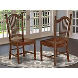 East West Furniture Dover Dining Room Chairs with Wood Seat-Finished in Mahogany (Set of 2)