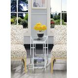 Town Square Chrome Wedge End Table in Clear Glass / Chrome Frame - Convenience Concepts 135060GLCRO