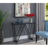 Venus Console Table in Glass Top/Antique Black Frame - Convenience Concepts 413579GLBL