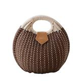 Puedo Women Shell Shape Straw Bag Rattan Woven Beach Handbags Summer Straw Tote Bag (Coffee color)