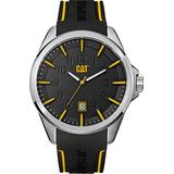 CAT Slate Black/Silver Men Watch, 45 mm case, Black face, Date Display, Black Stainless Steel case, Black Soft Silicone Strap, Black/Yellow dial (NO.141.21.127) (Black/Yellow)