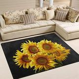 WIHVE Yellow Sunflower Bouquet Area Rugs Carpet Modern Square Floor Mat for Kids Home Living Dining Room Playroom Decoration 5' x 7'