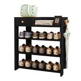 "Jerry & Maggie -Wood MDF Board Shoe Rack Shelf with One Drawer Clothes Rack Shoe Storage Shelves Free Standing Flat Racks Classic Style - Multi Function Shelf Organizer (Black, 30"" x 12"" x 25"")"