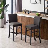 """YEEFY Dining Chairs 30"""" High Bar Height Side Chairs with Wood Legs, Set of 2 (Charcoal)"""