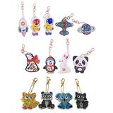 Diamond Painting Keychain Kits 5D Mosaic Making Full Drill Special Shape Diamond Painting Pendant for Bags,Phone Straps (13 Pack)