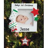 Personalized Planet Ornaments - Red & Green 'Baby's 1st Christmas' Frame Ornament