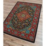 Bungalow Rose Prolley Oriental Red/Blue/Black Area Rug in Black/Blue/Red, Size 129.0 H x 92.0 W x 0.38 D in | Wayfair RC0232DST202