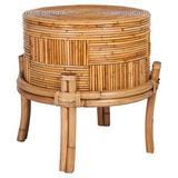 Bayou Breeze Valdez End Table Rattan/Wicker/Wood in Brown, Size 24.0 H x 22.0 W x 22.0 D in | Wayfair 21483DDD477B4C3E9E33B45164C1F5BD