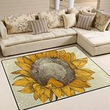 WIHVE Watercolor Vintage Sunflower Area Rugs Carpet Modern Square Floor Mat for Kids Home Living Dining Room Playroom Decoration 5' x 7'