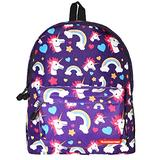 Chiclinco Kids Rainbow Unicorn Backpack Back to School Back Pack for Little Girls Age 5-12 Years Old (Purple)