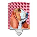 Caroline's Treasures Keeshond Hearts Love & Valentines Day Portrait Ceramic Night Light Ceramic in Pink, Size 4.0 H x 6.0 W x 3.0 D in | Wayfair