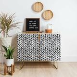 East Urban Home Little Arrow Design Co Arcadia Herringbone Accent Cabinet Wood in Brown, Size 38.0 H x 38.0 W x 17.5 D in | Wayfair