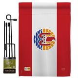 Breeze Decor French Polynesia 2-Sided Polyester 18.5 x 13 in. Flag Set in Gray/Red, Size 18.5 H x 13.0 W in | Wayfair