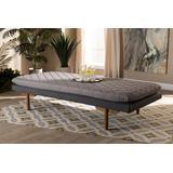 Baxton Studio Marit Mid-Century Modern Two-Tone Grey Fabric Walnut Finished Wood Daybed - BBT6812-Grey/Dark Grey/Walnut-Daybed