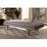 Baxton Studio Marit Mid-Century Modern Grey Fabric Upholstered Walnut Finished Wood Daybed - BBT6812-Grey/Walnut-Daybed