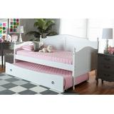 Baxton Studio Mara Cottage Farmhouse White Finished Wood Twin Size Daybed with Roll-Out Trundle Bed - MG0030-White-Daybed