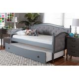 Baxton Studio Marlie Classic & Traditional Grey Fabric Grey Finished Wood Twin Size Daybed /w Trundle - MG0034-Grey/Grey-Daybed