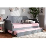 Baxton Studio Mariana Classic and Traditional Grey Finished Wood Twin Size Daybed with Trundle - Mariana-Grey-Daybed-T