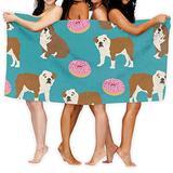 Beach Towel English Bulldogs Bulldog Donuts 51x31inch Soft Lightweight Absorbent for Bath Swimming Pool Yoga Pilates Picnic Blanket Towels