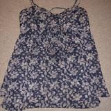 American Eagle Outfitters Tops | Ae Floral Flowy Tank | Color: Blue/White | Size: Xs