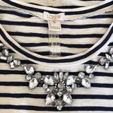 J. Crew Tops | J.Crew Bling Striped 34 Sleeve Navy + Beige | Color: Blue/Cream | Size: M