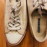 Converse Shoes | Off White Low Top Converse Lace-Ups | Color: Red/White | Size: 7