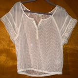 American Eagle Outfitters Tops | Aeo Sheer Top | Color: Cream | Size: S