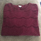 J. Crew Tops   J. Crew Crochet Lace Tee   Color: Red   Size: M