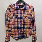 American Eagle Outfitters Tops | American Eagle Outfitters Plaid Shirt | Color: Pink/Yellow | Size: M