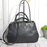 Michael Kors Bags | Michael Kors Florence Large Satchel Leather Bag | Color: Black/Gold | Size: Os