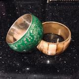 Anthropologie Jewelry   Anthropologie Wood Inlay & Brass Bangle Bracelet   Color: Brown/Tan   Size: Os