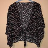 American Eagle Outfitters Other | Black Floral Wrap | Color: Black/Pink | Size: M