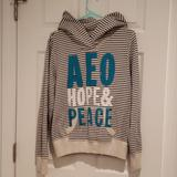 American Eagle Outfitters Tops   Aeo Hoodie   Color: Blue/Cream   Size: L