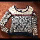 American Eagle Outfitters Sweaters   American Eagle Cable Knit Wool Blend Sweater   Color: Blue/Cream   Size: S