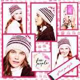 Free People Accessories | Free People Tullamore Stripe Beanie In Mauve | Color: Pink/Silver | Size: Os
